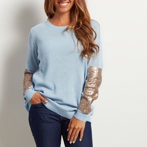 Pink Blush Baby Blue Sequin Elbow Crewneck Sweater